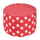 Red and White Star Print Pouf