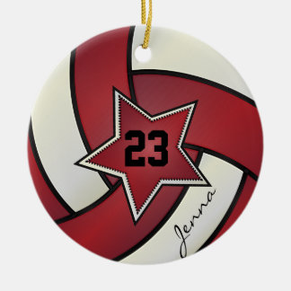 Red and White Star Volleyball Round Ceramic Ornament