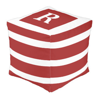 Red and White Stripe Monogram Pouf