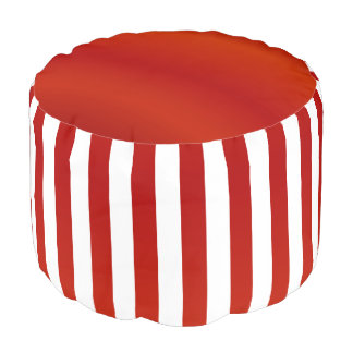 Red and White Stripe Pattern 2 Pouf