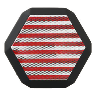 Red and White Stripe Pattern Black Bluetooth Speaker