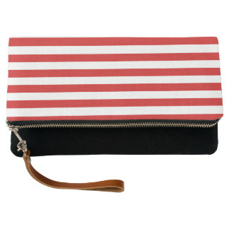 Red and White Stripe Pattern Clutch