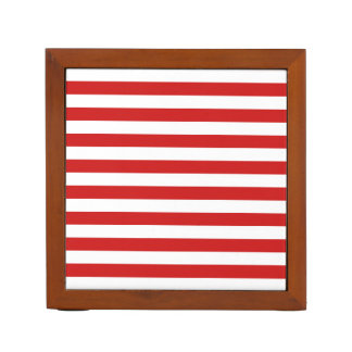Red and White Stripe Pattern Desk Organizer