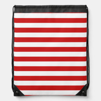Red and White Stripe Pattern Drawstring Bag