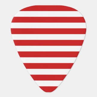 Red and White Stripe Pattern Guitar Pick