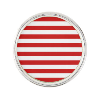 Red and White Stripe Pattern Lapel Pin