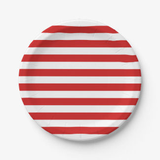 Red and White Stripe Pattern Paper Plate