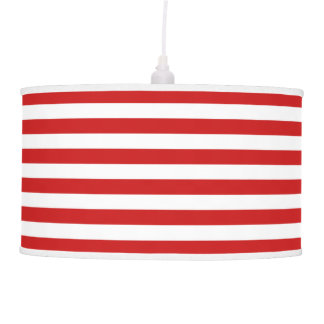 Red and White Stripe Pattern Pendant Lamp