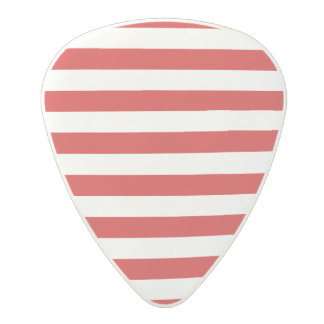 Red and White Stripe Pattern Polycarbonate Guitar Pick