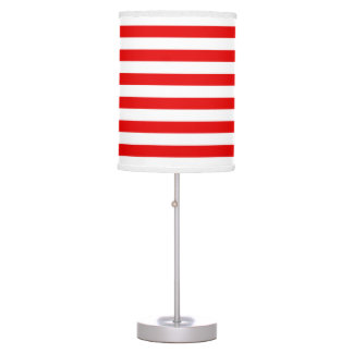 Red and White Stripe pattern Table Lamps