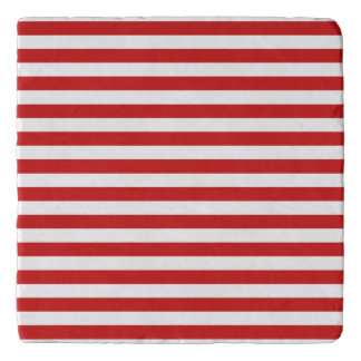 Red and White Stripe Pattern Trivet