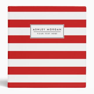 Red and White Stripe Pattern Vinyl Binders