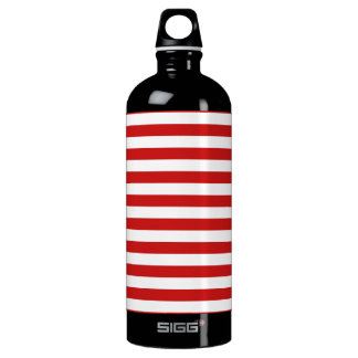 Red and White Stripe Pattern Water Bottle
