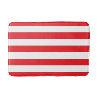 Red and White Striped Bath Mat