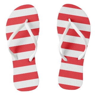 Red and White Striped Flip Flops