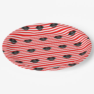 red and white striped kiss 9 inch paper plate
