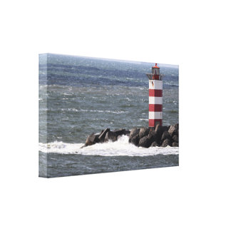 Red and White Striped Lighthouse Canvas