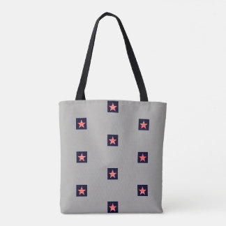 Red And White Striped Star Pattern Gray Tote Bag