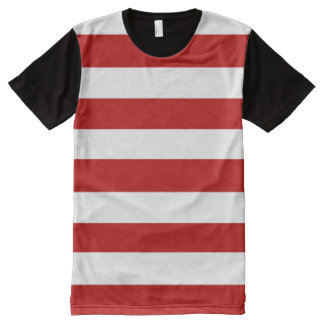red and white stripes All-Over-Print T-Shirt