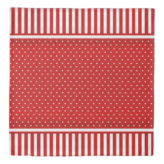 Red and White Stripes and Polka Dots Duvet Cover