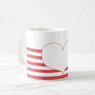 Red and White Stripes & Heart Coffee Mug
