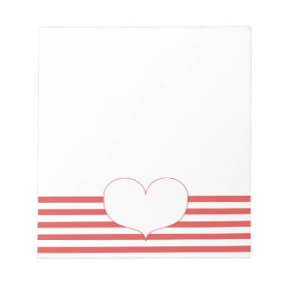 Red and White Stripes & Heart Notepad
