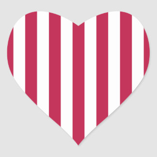 Red and White Stripes Heart Sticker