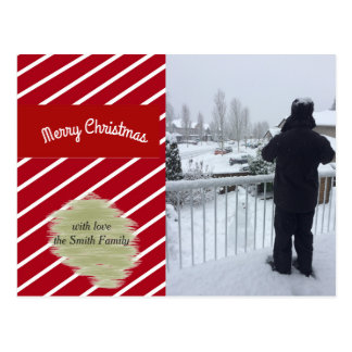 Red and White Stripes Holiday Photo Card