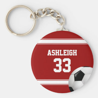 Red and White Stripes Jersey Soccer Ball Basic Round Button Keychain