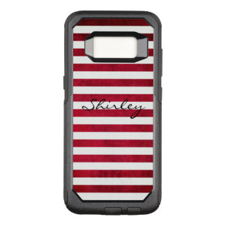 Red and White Stripes on Fabric Texture by STaylor OtterBox Commuter Samsung Galaxy S8 Case