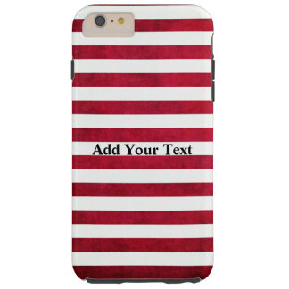 Red and White Stripes on Fabric Texture by STaylor Tough iPhone 6 Plus Case