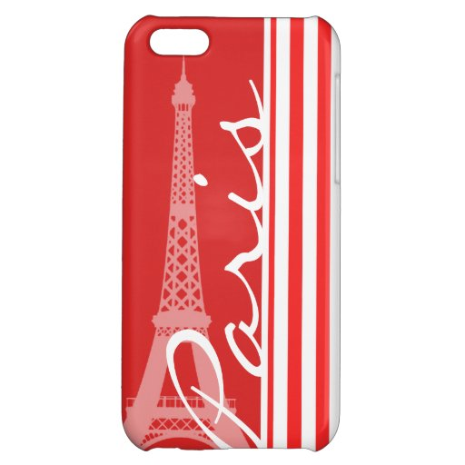 Red and White Stripes; Paris Case For iPhone 5C