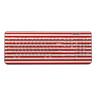 Red and White Stripes Wireless Keyboard