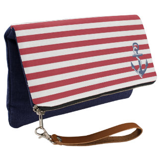 Red and White Stripes with Anchor Clutch