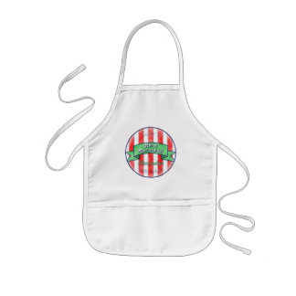 Red and White Stripes With Green Banner Kids Apron