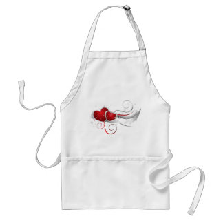 Red and White Swoosh Hearts Standard Apron