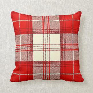 red and white tartan throw pillow