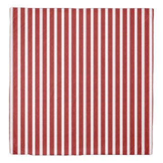Red and White Textured Stripes Duvet Cover