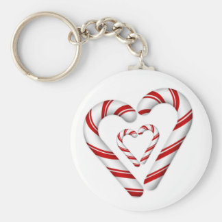 red and white tiny candy cane hearts keychain