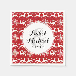 Red and White Traditional Christmas Deer Paper Napkin