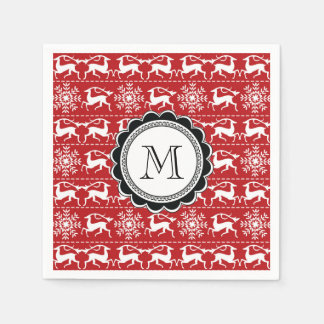 Red and White Traditional Christmas Deer Paper Napkins