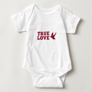Red And White True Love And Bird Baby Bodysuit
