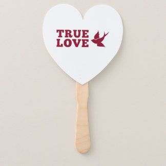 Red And White True Love And Bird Hand Fan