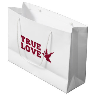 Red And White True Love And Bird Large Gift Bag