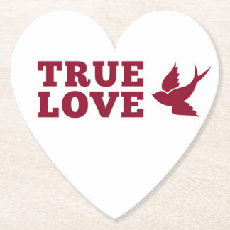 Red And White True Love And Bird Paper Coaster