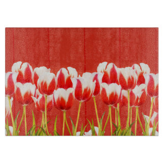 Red and white tulips cutting board