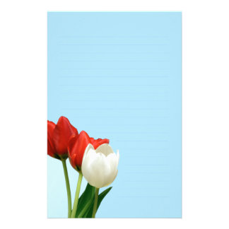Red and White Tulips on Blue Writing paper Custom Stationery