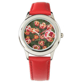 Red and White Tulips Stainless Steel Red Watch