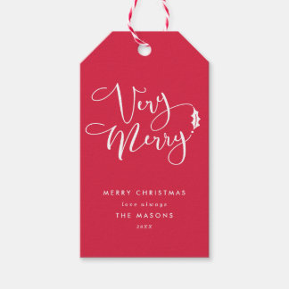 Red and White Verry Merry Christmas Gift Tags Pack Of Gift Tags