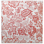 Red and White Vintage Floral Print Napkin